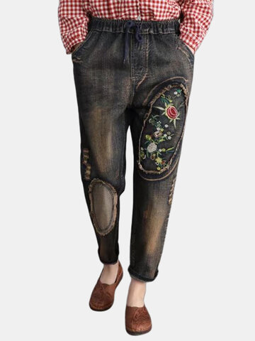 Patchwork Floral Embroidery Denim