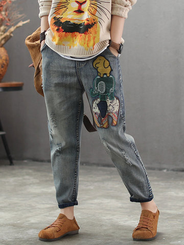 Pantalon en denim patch vintage