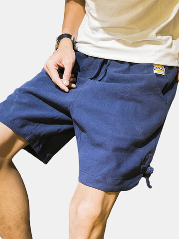 Breathable Linen Knee Length Loose Shorts, Khaki black navy