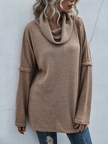 Solid Color Turtleneck Casual Sweater