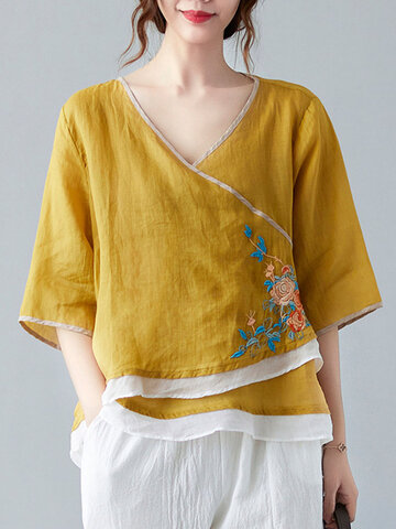 Flower Embroidery Frog Blouse
