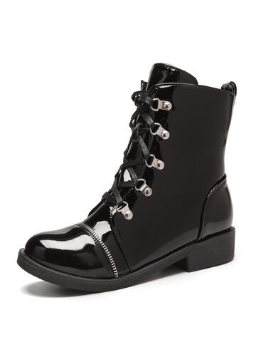 Patent Leather Low Heel Combat Boots