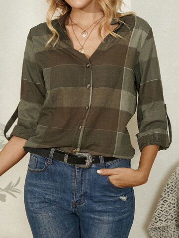 Plaid Button Stand Collar Casual Blouse