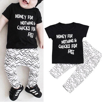 Letters Unisex Baby Clothing Set For 0-24M