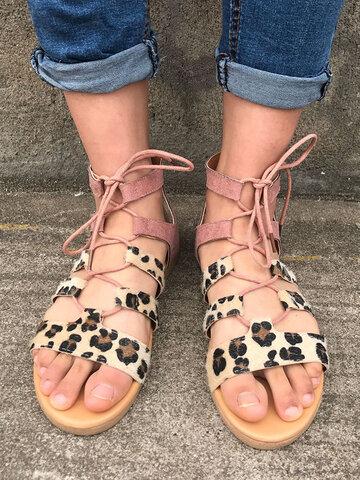 Leopard Lace Up Flat Gladiator Sandals