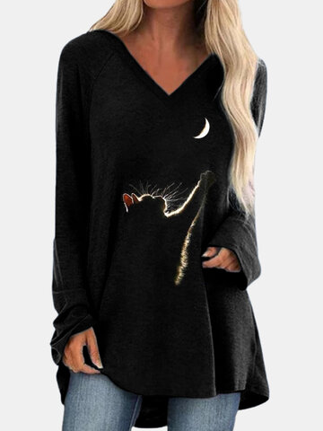 Cat Print V-neck Long Sleeves T-shirt