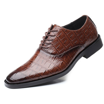 Men Retro Color Leather Crocodilian Formal Shoes