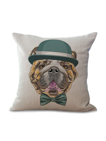 Cute Animal Style Cotton Linen Square Cushion Cover