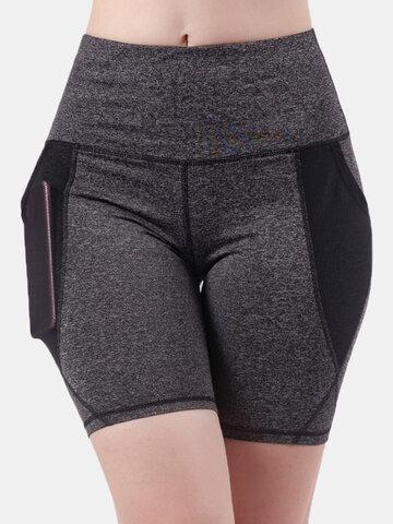 Banded Sports Biker Shorts With Mesh Pockets