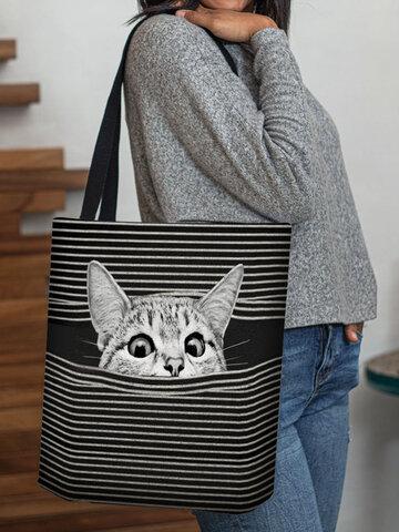 Fourre-tout de sac à bandoulière de sac à main d'impression de motif de rayure de chat de feutre