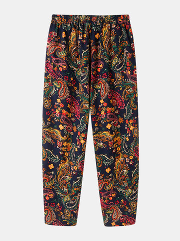 Print Elastic Waist Cotton Pants