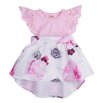 Flower Printed Baby Girls Dresses For 0-24M