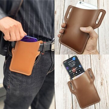 Men EDC 6.3 Inch Leather Phone Belt Bag