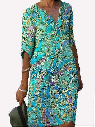 newchic / Print V-neck Half Sleeve Dress