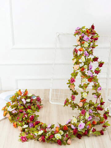 1PC 2.5m Artificial Flower Garland Ivy Autumn Small Peony Flowers Fake Simulation Plant Autumn Leaves Vine Home Wall Garden Wedding Arch Decor