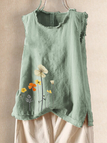 Cartoon Floral Printed Tank Tops