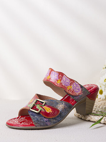 SOCOFY Retro Calico Painted Leather Mule Chunky Heel Sandals