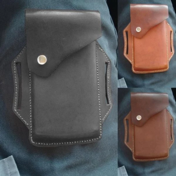 Men Genuine Leather 5.5 Inch Belt Bag