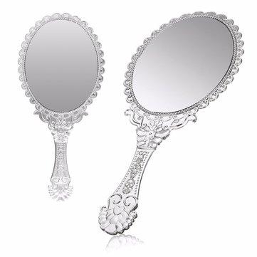 Vintage Repousse Oval Make-up Floral Spiegel Hand Kosmetikspiegel Silber