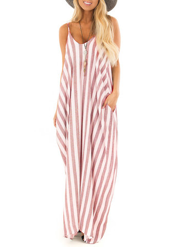 Bohemian Spaghetti Straps Striped Maxi Dress