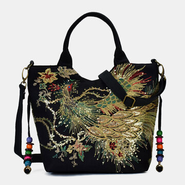 Ethnic Embroidered Canvas Peacock Handbag