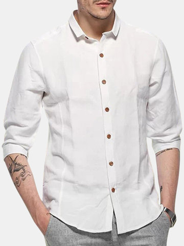 Cotton Linen Slim Fit Dress Shirts