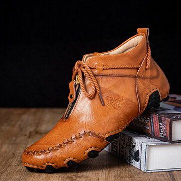 Men Hand Stitching Driving Ankle Boots