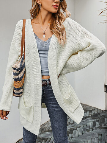 Solid Color Knitted Mesh Cardigan