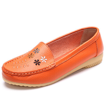 Flower Embroidery Leather Soft Comfortable Casual Slip On Flat Shoes, White black orange blue