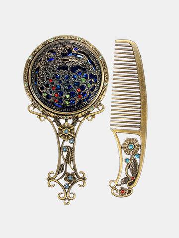 Vintage Antiqued Mini Copper Makeup Vanity Mirror With Comb Set