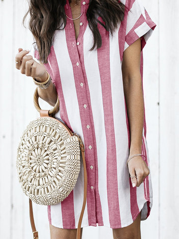 Short Sleeve Stripes Dresses
