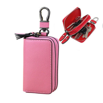 Women Genuine Leather Key Holder Double Layer Key Purse