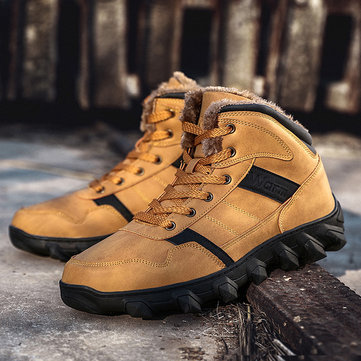 Men Outdoor Warm Lined Hiking Boots