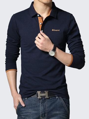 Polo shirt mince en coton en couleur pure à manches longues pour homme