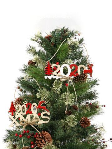 1Pc Christmas Alphabet 2020 Wooden Hanging Elk Christmas Decoration Door Hanging Pendant Xmas Ornament