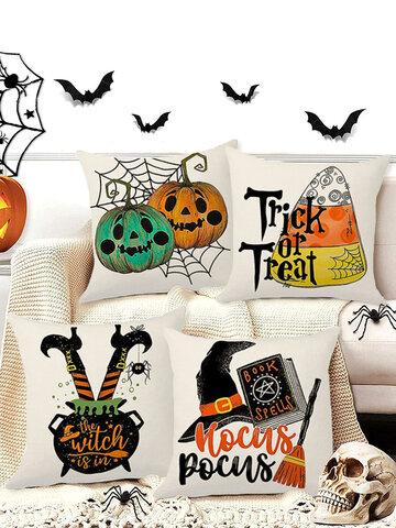 4 PCs Pumpkin Clown Bat Pattern Cushion Cover Throw Pillow Cover Pillowcase