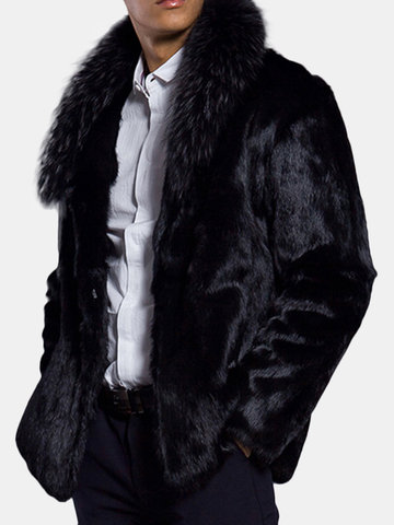 Winter Mid Length Warm Faux Fur Coat