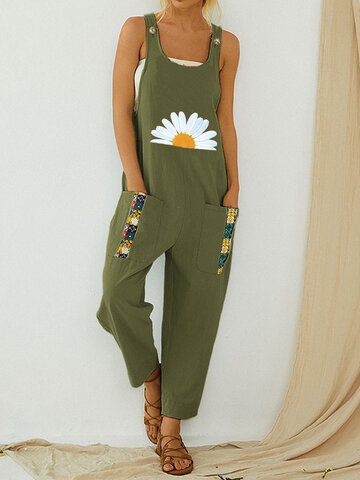 Daisy Floral Printed Straps Jumpsuit
