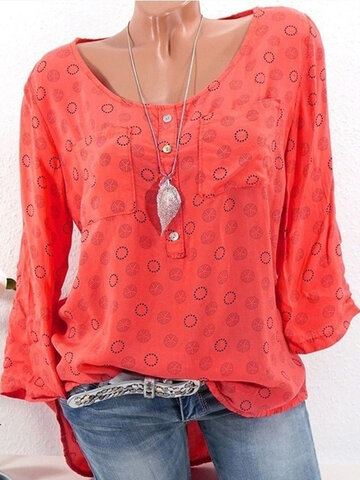 Polka Dot Print Casual Blouse, White red khaki pink light green blue