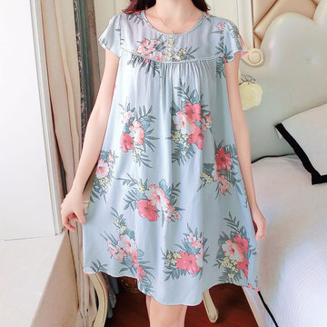 Print Short Sleeves Comfort Soft Nightdress