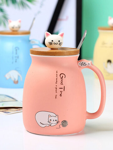 500ml Lovely Cat  LidCeramic Coffee Mug