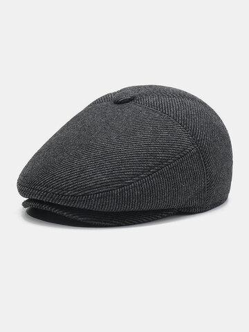 Men Wool Ear Protection Stripe Pattern Plus Thicken Beret Hat Flat Cap