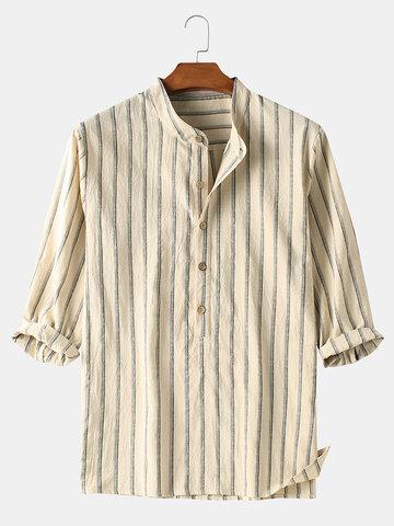 100% algodão listrado Henley camisas