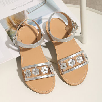 Girls Fashion Flowers Decor Beach Sandals