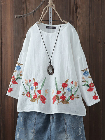 Embroidery Floral Long Sleeve Blouse