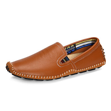 Big Size Men Leather Sewing Slip On Toe Protecting Casual Doug Shoes, Yellow black dark blue brown creamy white