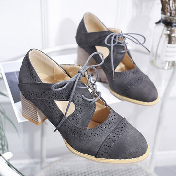 Brogue Carved Chunky Heel Shoes