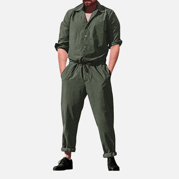 Mens Drawstring Waist Casual Jumpsuits