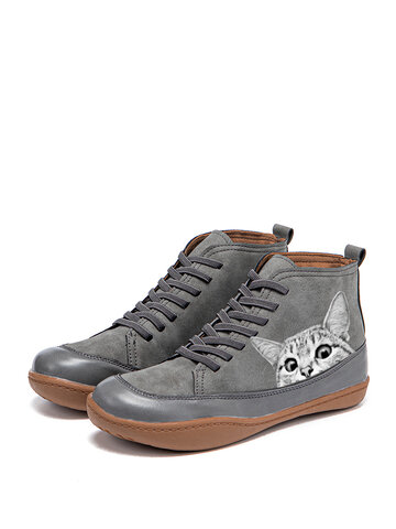 Cat Printing Lace Up Ankle Boots