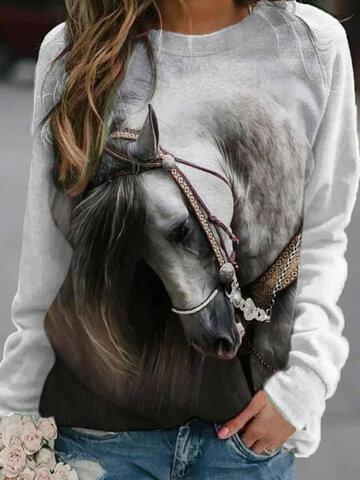 Horse Print Casual Sweatshirt